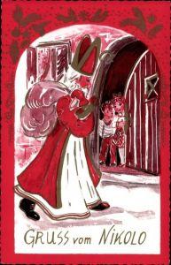 Künstler Ak Frohe Weihnachten, Weihnachtsmann, Gruß vom Nikolo, Nikolaus