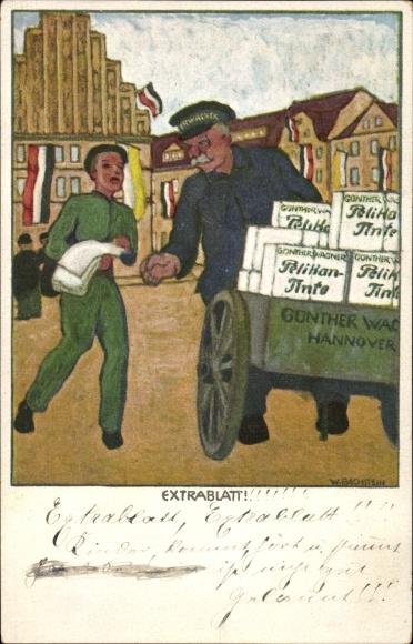 Künstler Ak Hannover, Extrablatt, Zeitungsverkäufer, Reklame Günther Wagner, Pelikan Tinte