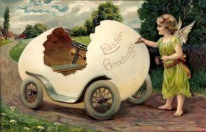 Präge Ak Glückwunsch Ostern, Engel mit einem Ostereierauto, Kitsch
