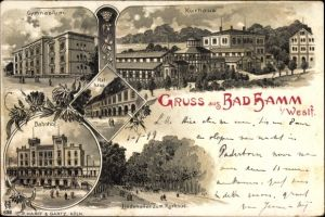 Litho Hamm in Westfalen, Kurhaus, Gymnasium, Bahnhof, Rathaus, Lindenallee