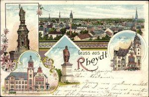 Litho Rheydt Mönchengladbach Niederrhein, Hohenzollern Brunnen, Neue Post, Kaiser Wilhelm Denkmal