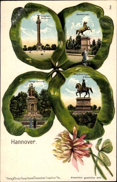 Präge Kleeblatt Litho Hannover Niedersachsen, Waterloo Denkmal, Sachsenross, Ernst August Denkmal