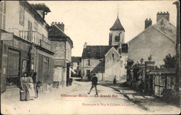 Ak Villiers sur Morin Seine et Marne, La Grande Rue, Straßenpartie, Kirche, Geschäft