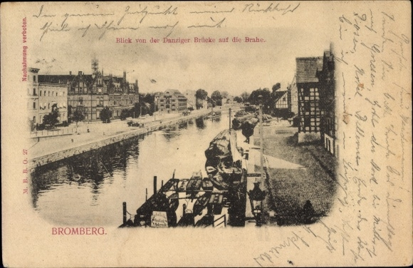 Ak Bydgoszcz Bromberg Westpreußen, Blick von der Danziger Brücke auf die Brahe