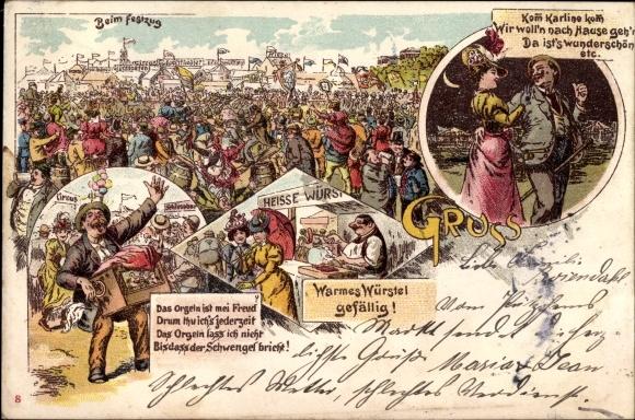 Litho Besucher auf einem Festplatz, Festzug, Wurstverkäufer, Drehorgelspieler, Leierkasten