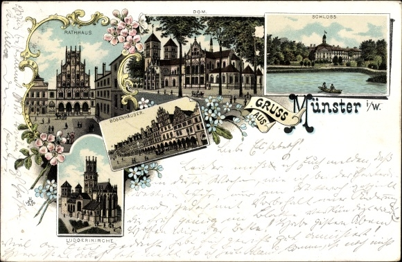 Litho Münster in Westfalen, Rathaus, Dom, Bogenhäuser, Ludgerikirche, Schloss