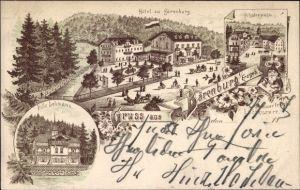 Litho Bärenburg Altenberg im Erzgebirge, Villa Lehmann, Hotel, Schäfermühle, Zwerg