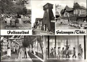 Ak Bad Salzungen im Wartburgkreis, Ansichten vom Gradierwerk, Musikpavillon, Soleturm