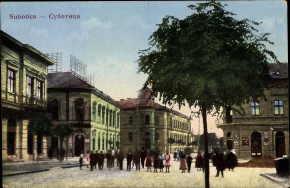 Ak Szabadka Subotica Serbien, Straßenpartie in der Stadt
