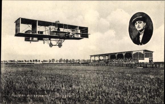 Ak Rougier mit seinem Flugapparat, Flugpionier, Biplan, Landefeld