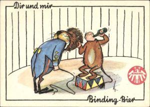 Künstler Ak Dir und mir, Binding Bier, Löwendompteur, Humor