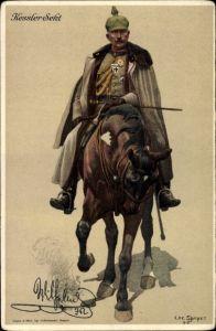 Künstler Litho Speyer, Chr., Kaiser Wilhelm II., Pferd, Reiter, Kessler Sekt Reklame