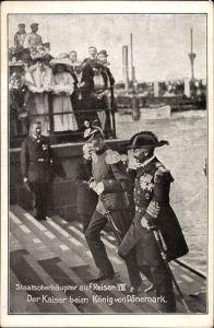 Ak Staatsoberhäupter auf Reisen Nr 8, Der Kaiser beim König von Dänemark