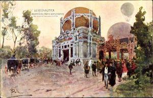 Künstler Ak Milano Mailand Lombardia, Esposizione 1906, Aereonautica ingresso al parco areostatico