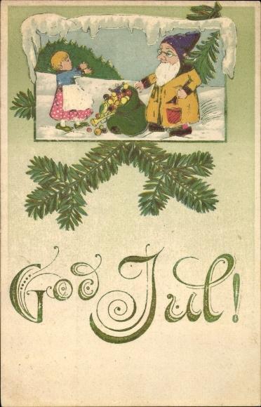 Präge Ak Frohe Weihnachten, Weihnachtsmann, Geschenkesack, Kind, Tanne, God Jul