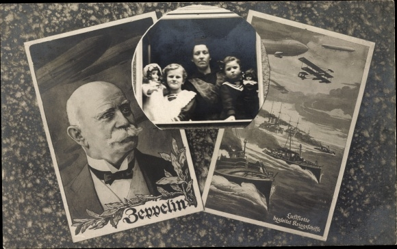 Passepartout Ak Ferdinand Graf von Zeppelin, Familie am Fenster, Luftflotte begleitet Kriegsschiffe