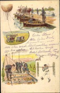 Künstler Ak Merté, O., Deutsche Pioniere beim Schiffbrückenbau, Gleisbau, Fesselballon
