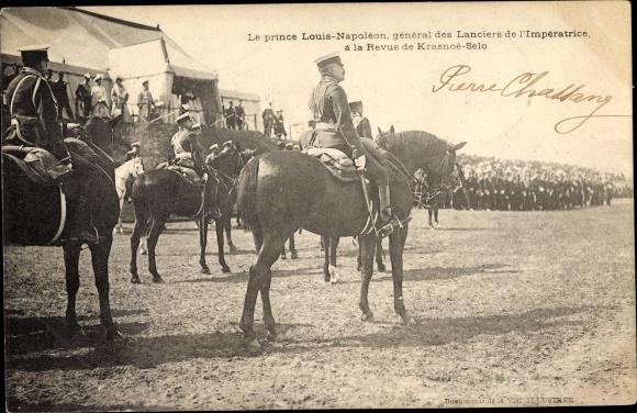 Ak Prince Louis Napoléon, Général des Lanciers de l'Impératrice, Revue de Krasnoje Selo