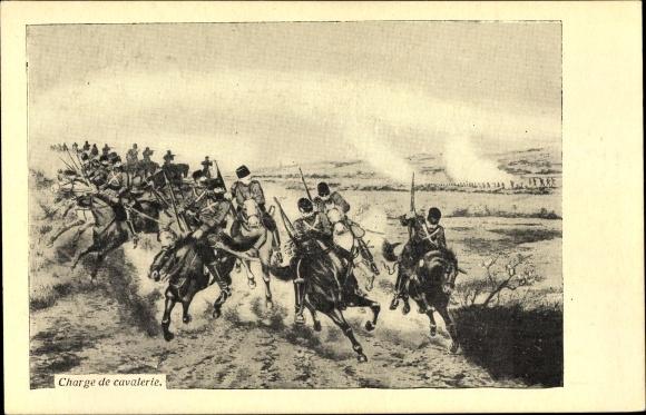 Künstler Ak Russisch japanischer Krieg, Charge de cavalerie, Russische Kavallerie stürmt an