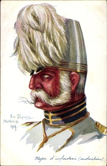 Künstler Ak Dupuis, Em., Major d'Infanterie autrichien, Kuk Offizier, Portrait