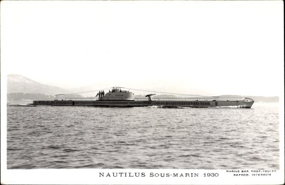 Ak Französisches U Boot, Sous Marin Nautilus, Marine Militaire Francaise