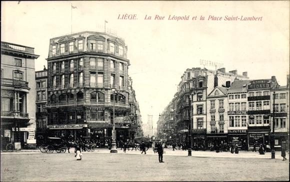 Ak Liège Lüttich Wallonien, La Rue Leopold et la Place Saint Lambert, Geschäftshäuser