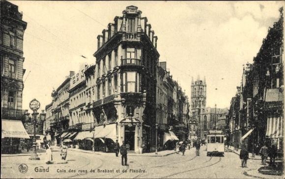 Ak Gent Ostflandern, Rue de Brabant, Rue de Flandre, Straßenbahn, Hotel Gand, Geschäfte