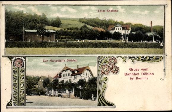 Ak Döhlen Seelitz im Kreis Mittelsachsen, Totalansicht, Bahnhofsrestaurant zur Haltestelle