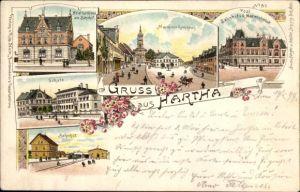 Litho Hartha Mittelsachsen, Hotel zur Krone, Markt, Schule, Bahnhof, Post, Marienstraße