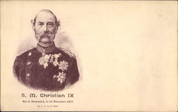 Ak König Christian IX. von Dänemark, Portrait