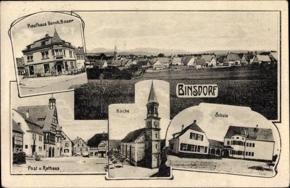 Ak Binsdorf Geislingen im Zollernalbkreis, Kaufhaus Bernh. Boser, Post, Rathaus, Kirche, Schule