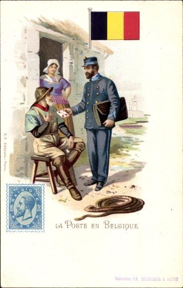 Briefmarken Litho La Poste en Belgique, Postbote, Briefträger