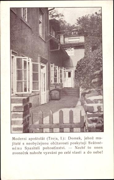 Ak Tschechoslowakei, Moderni apostolat, Domek, Gartenansicht eines Wohnhauses