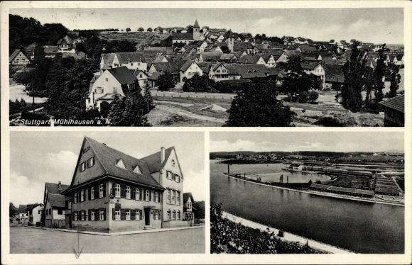 Ak Mühlhausen Stuttgart, Gesamtansicht, Gasthaus zum Löwen v. Gotth. Häussermann