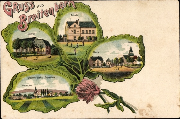 Kleeblatt Litho Breitenborn Rochlitz an der Mulde, Gasthof, Schule, Kirche, Pfarre, Rochlitzer Berg