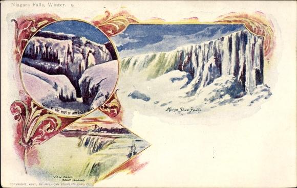 Ak Niagara Falls New York USA, American Falls, Goat Island, Horse Shoe Falls