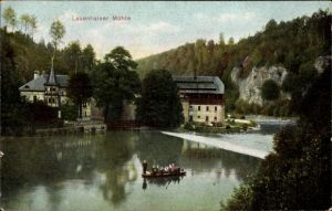 Ak Mittweida in Sachsen, Lauenhainer Mühle, Flusspartie