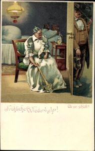 Litho Fröhliche Wiederkehr, Ob sie schläft, Betrunkener Mann kehrt heim, Ehehumor, Teppichklopfer