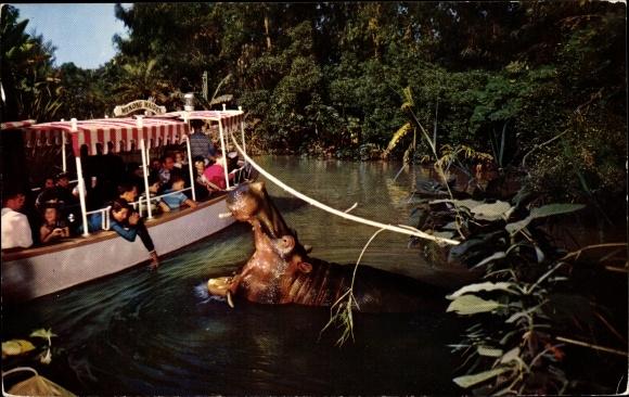 Ak Anaheim Kalifornien USA, Disneyland, The Explorer's Boat, Adventureland, Nilpferd