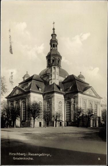 Ak Jelenia Góra Hirschberg Riesengebirge Schlesien, Blick auf die Gnadenkirche
