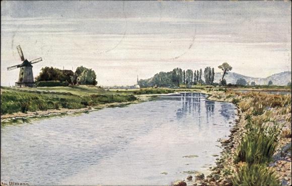 Künstler Ak Ullmann, Max, Dresden West Gohlis, Gohliser Mühle, Windmühle