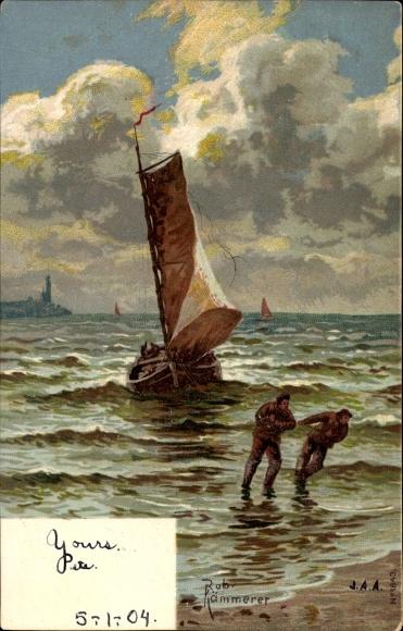 Künstler Litho Kämmerer, Rob., Fischer ziehen Fischerboot an den Strand