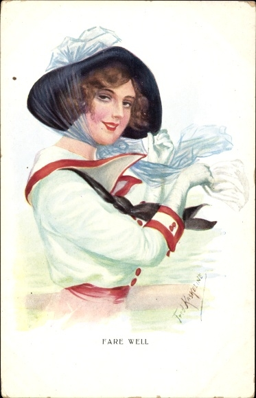 Künstler Ak Kaskeline, F., Fare well, Junge Frau winkt mit dem Handtuch