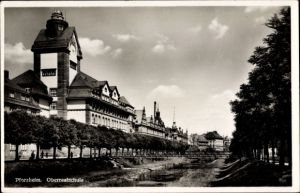 Ak Pforzheim im Schwarzwald, Flusspartie an der Oberrealschule