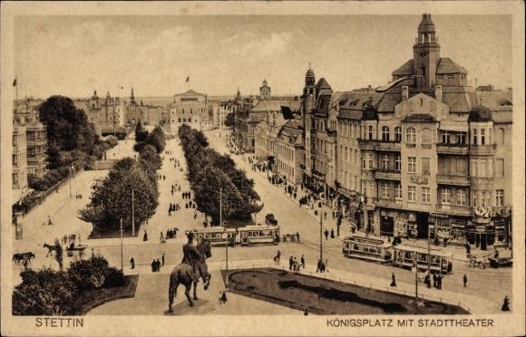 Ak Szczecin Stettin Pommern, Blick auf den Königsplatz mit Stadttheater