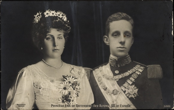 Ak Rey Alfonso XIII, König Alfons XIII. von Spanien, Princesa Ena, Victoria Eugénie von Battenberg