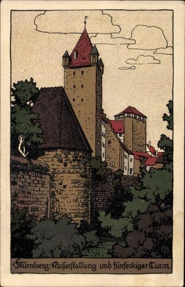 Steindruck Ak Nürnberg in Mittelfranken Bayern, Blick auf die Kaiserstallung, Turm