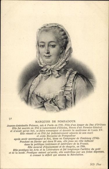 Künstler Ak Marquise de Pompadour, Portrait, Mätresse von Ludwig XV