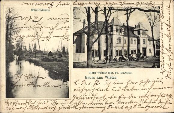 Ak Wietze in Niedersachsen, Hotel Wietzer Hof, Bes. Fr. Warneke, Erdöl Industrie