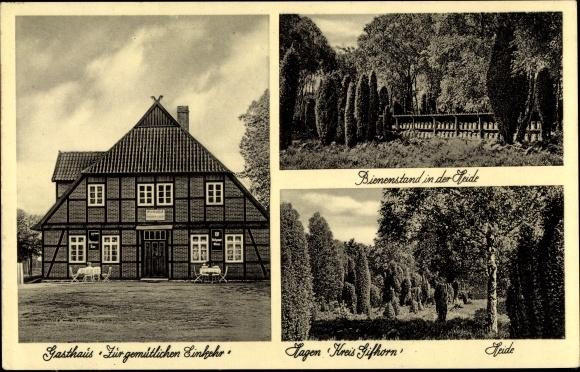 Ak Hagen Wittingen Niedersachsen, Gasthaus z. gemütlichen Einkehr, Michels, Bienenstand in der Heide
